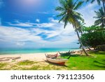beach and fishing boat  koh... | Shutterstock . vector #791123506