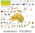 australia and oceania flora and ... | Shutterstock .eps vector #791128912