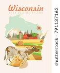 wisconsin vector illustration.... | Shutterstock .eps vector #791137162