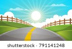 cartoon hill landscape. road ... | Shutterstock .eps vector #791141248