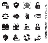 solid black vector icon set  ... | Shutterstock .eps vector #791148376