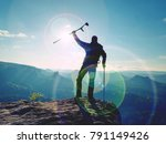 tourist with  forearm crutch...   Shutterstock . vector #791149426