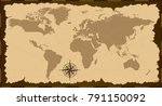 old world map. vector... | Shutterstock .eps vector #791150092