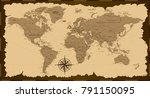old world map. vector... | Shutterstock .eps vector #791150095