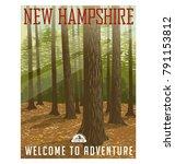 retro style travel poster or... | Shutterstock .eps vector #791153812