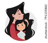 mother hugs daughter.  brunette.... | Shutterstock .eps vector #791155882
