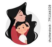 mother hugs son. cartoon style  ... | Shutterstock .eps vector #791166328