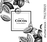 vector frame with cocoa. hand... | Shutterstock .eps vector #791170015