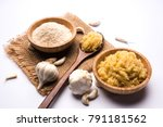 dried granulated garlic lahsun... | Shutterstock . vector #791181562