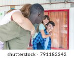 two multi ethnic couples of... | Shutterstock . vector #791182342