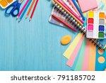 collection of school supplies... | Shutterstock . vector #791185702