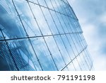 blue curtain wall made of toned ...   Shutterstock . vector #791191198