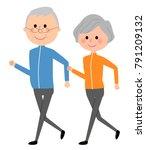 elderly couple  walking | Shutterstock .eps vector #791209132