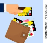 the businessman hand takes out... | Shutterstock .eps vector #791223352