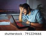 businessman working on a laptop ... | Shutterstock . vector #791224666