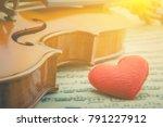red velvet pillow heart and a... | Shutterstock . vector #791227912