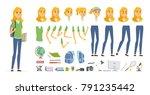 student   vector cartoon people ... | Shutterstock .eps vector #791235442