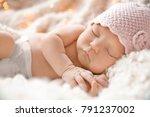cute newborn baby girl lying on ... | Shutterstock . vector #791237002