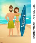 surfer couple at the beach.... | Shutterstock . vector #791237236