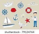 funny nautical set | Shutterstock .eps vector #79124764