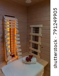 infrared cabin with towels and... | Shutterstock . vector #791249905