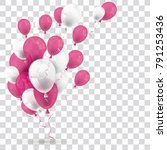 pink and white balloons on the... | Shutterstock .eps vector #791253436