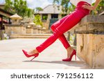 red leather pants and high heel ... | Shutterstock . vector #791256112