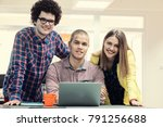 young start up team disccusing... | Shutterstock . vector #791256688