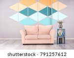 interior of modern room with... | Shutterstock . vector #791257612