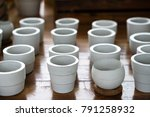 white clay ceramic planting... | Shutterstock . vector #791258932