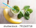 top view of green smoothie in... | Shutterstock . vector #791265718