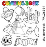 coloring book with mexican... | Shutterstock .eps vector #79126984