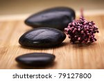 zen stone, relax concept. Shallow deep of field, focus on the central stone - stock photo