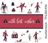 greeting card template with... | Shutterstock .eps vector #791281456