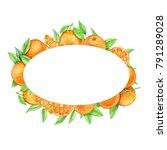 oval frame of oranges....   Shutterstock . vector #791289028