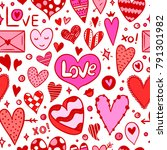 background with hearts and love ... | Shutterstock .eps vector #791301982