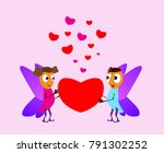 valentine's day. boy and girl... | Shutterstock .eps vector #791302252