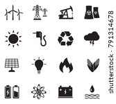 energy icons. black flat design.... | Shutterstock .eps vector #791314678