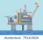 modern offshore oil rig... | Shutterstock .eps vector #791315026