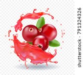 cranberry in juice splash... | Shutterstock .eps vector #791324326