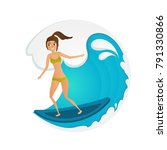 surfer girl on wave. cartoon... | Shutterstock .eps vector #791330866