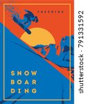 freeride snowboarder in motion. ... | Shutterstock .eps vector #791331592