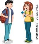 cute cartoon children with... | Shutterstock .eps vector #791336968