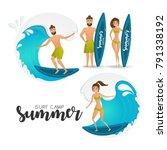 surfer couple set. cartoon...   Shutterstock .eps vector #791338192