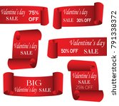 set of valentine's day sale red ... | Shutterstock .eps vector #791338372