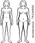set of female body types   Shutterstock .eps vector #79134904