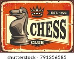 chess club vintage tin sign... | Shutterstock .eps vector #791356585
