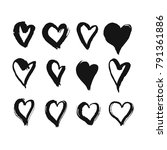 black hand drawn hearts. rough...   Shutterstock .eps vector #791361886