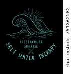 surf wave.vintage tropical... | Shutterstock .eps vector #791362582