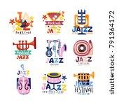 colorful logos set for jazz... | Shutterstock .eps vector #791364172